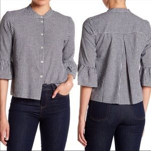 COPY - Madewell Gingham Bell Sleeve Blouse